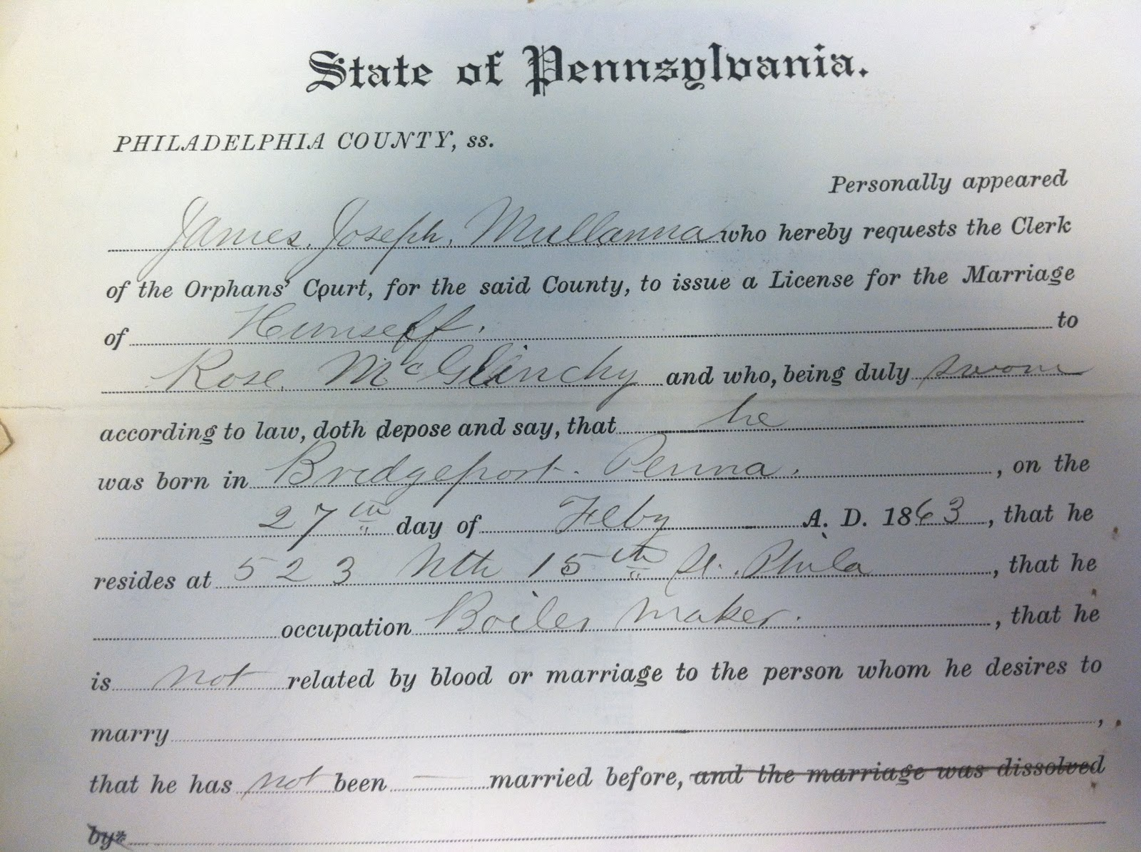 Copy Of Marriage Certificate Philadelphia