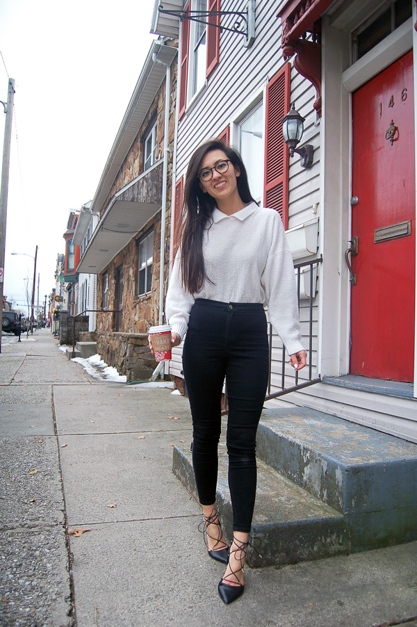Black Jeans White Sweater
