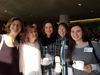 SCBWI gang: co-chairs Natascha Biebow and Kathryn Evans, illustrator coordinator Bridget Marzo, pulse coordinator Mo O'Hara, assistant regional advisor for events, Ashley Taylor.