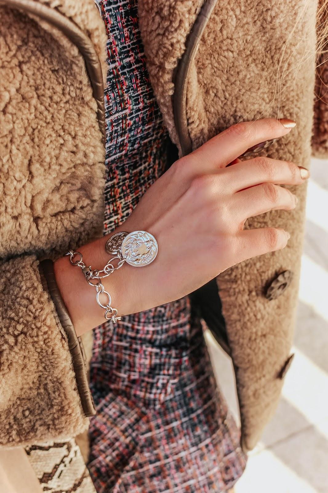 karen millen vintage coin silver bracelet