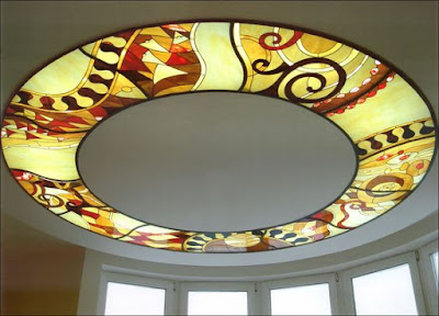 stained glass panels in false ceiling design for living room