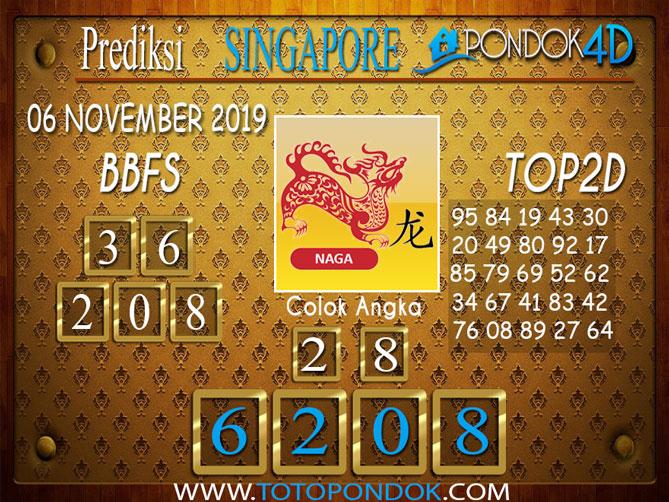 Prediksi Togel SINGAPORE PONDOK4D 06 NOVEMBER 2019