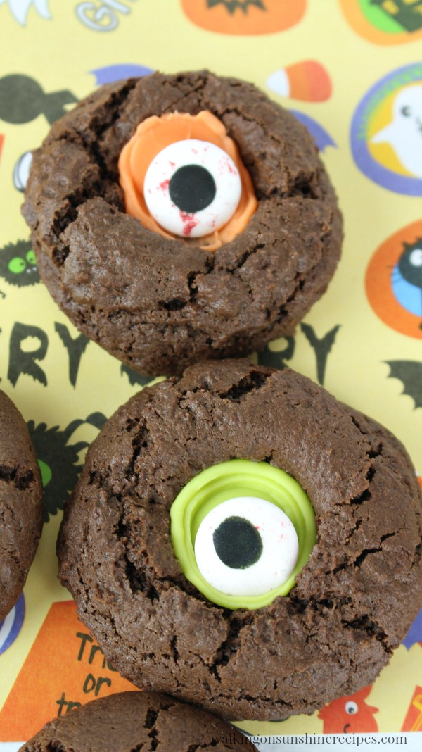 Closeup of Halloween Thumbprint Cookies baked from Walking on Sunshine Recipes