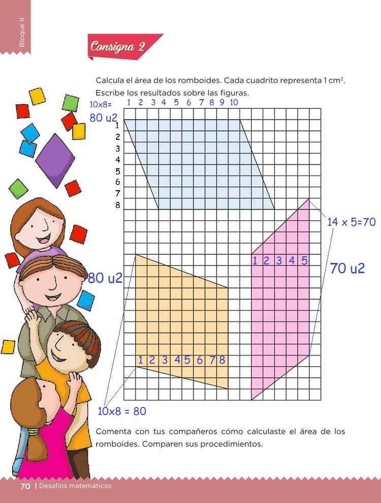 El romboideDesafíos MatemáticosQuinto gradoContestado página 70