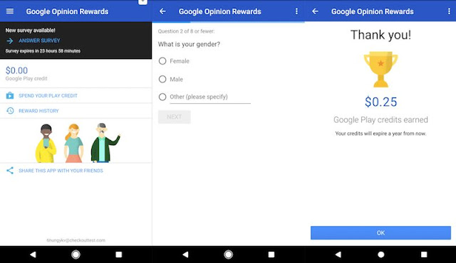 Make online credit and rewards with Google opinion surveys app for solving surveys