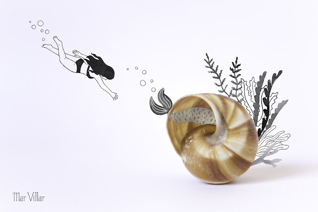 Dibujo a tinta, caracola, mar, mediterraneo, playa, vacaciones, algas, verano, nadar