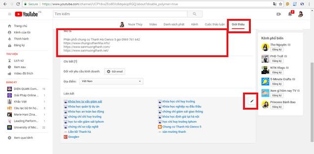 dat backlink o kenh youtube
