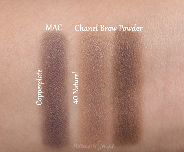 Chanel 40 Naturel Brow Palette Swatches MAC Copperplate
