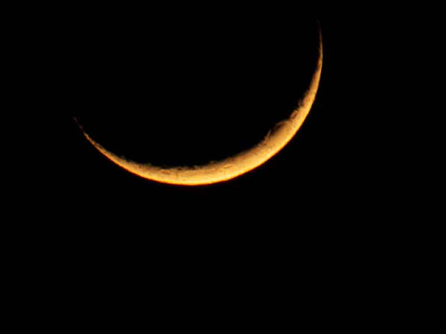A slender waxing moon