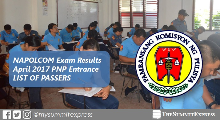 April 2017 NAPOLCOM exam results: PNP Entrance Passers List