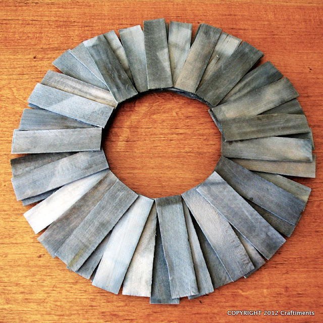 Craftiments:  Wood Shim Wreath