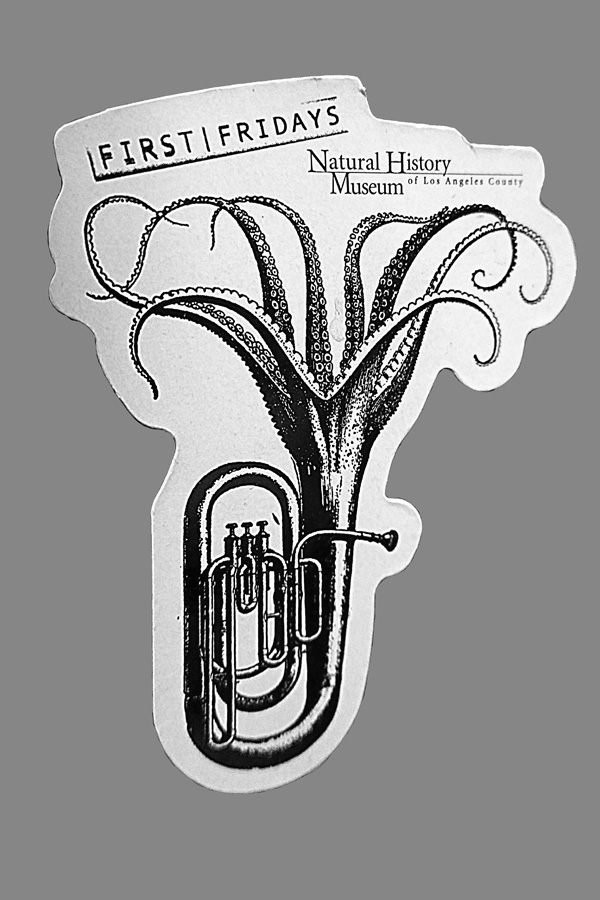 Refrigerator Magnet for First Fridays at LACounty Museum of Natural History - Tuba with Octopus Tentacles