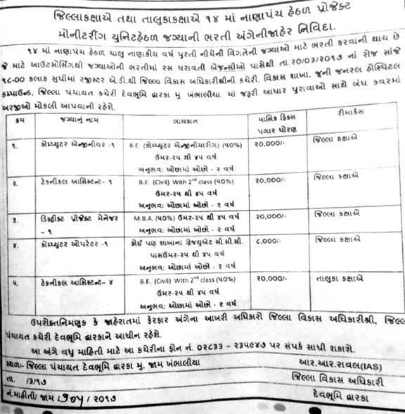 District Panchayat Devbhumi Dwarka Recruitment 2017 for Various Posts