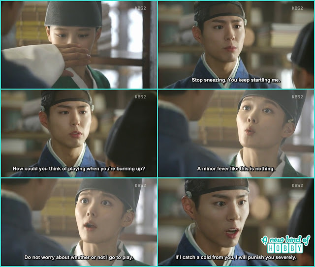 at the library crown prince again become suspicious of eunch hong being a girl - Love in The Moonlight - Episode 5 Review