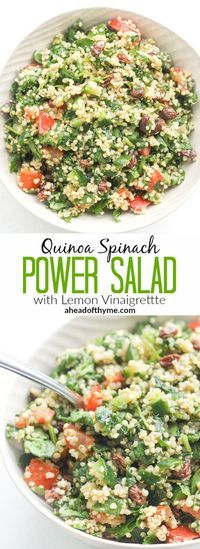 QUINOA SPINACH POWER SALAD WITH LEMON VINAIGRETTE #Quinoa #Spinach #Salad #Lemon #Vinaigrette