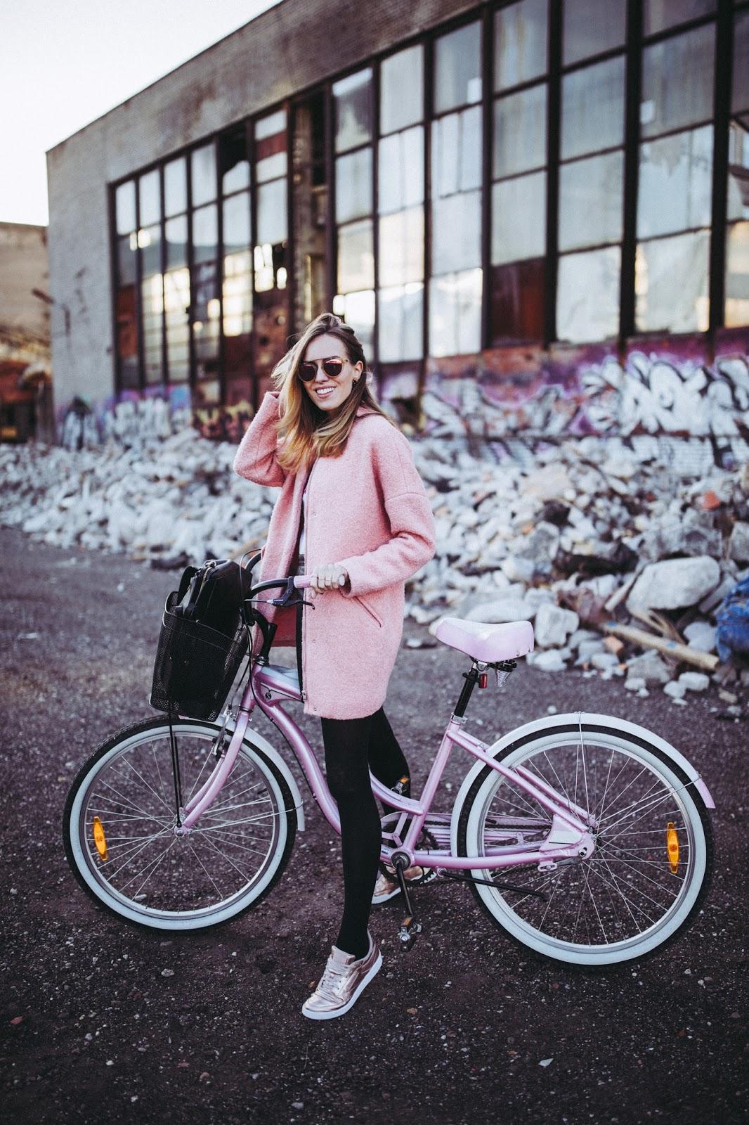 pink bike girl fall street style
