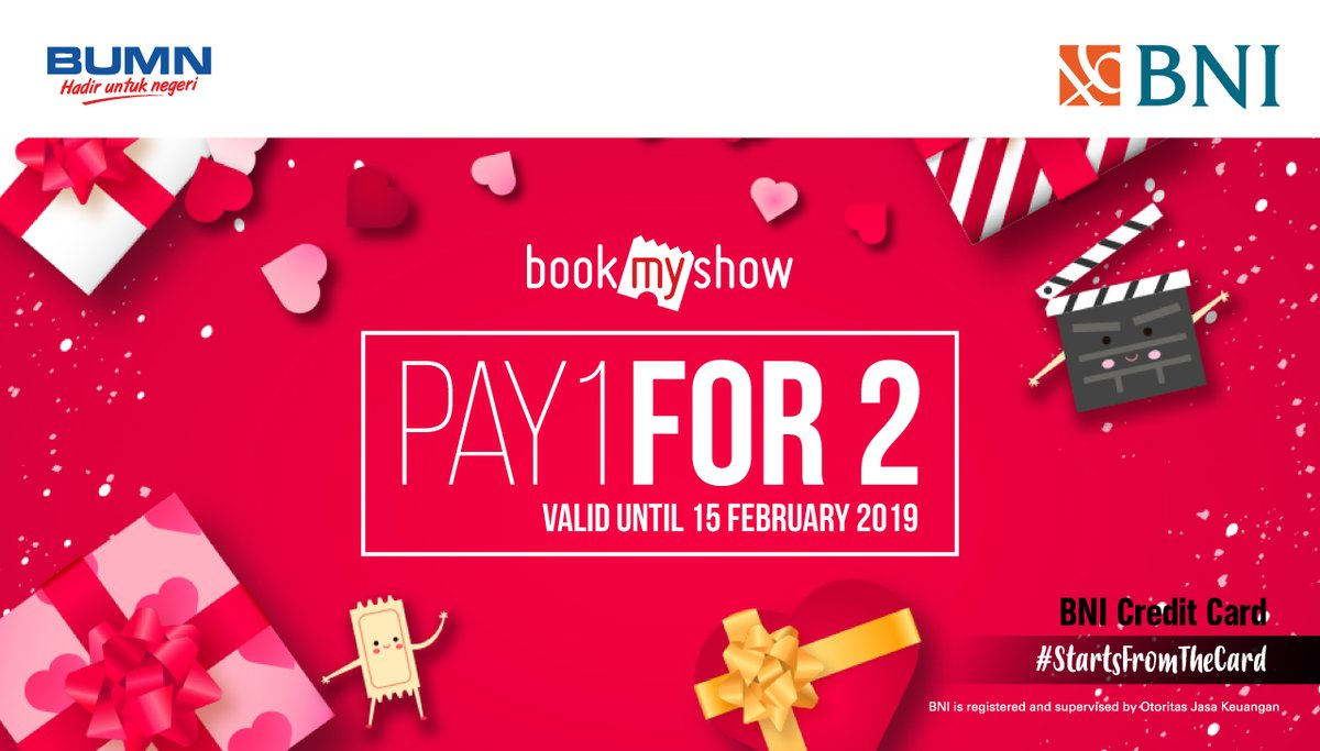 #BankBNI - #Promo Pay 1 For 2 di Bookmyshow Pakai Kartu Kredit (s.d 15 Feb 2019)