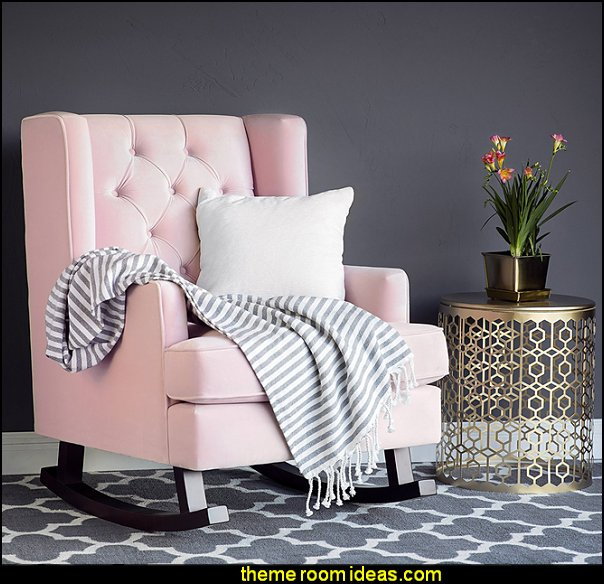 Velvet Wingback Rocking Accent Chair - Blush Pink