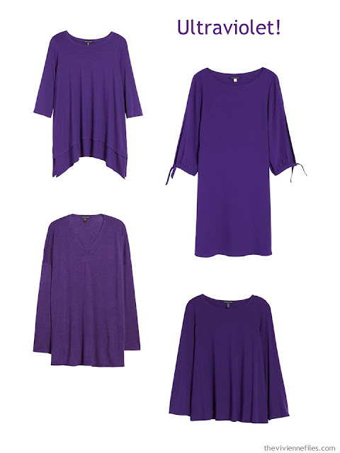 4 Eileen Fisher garments in ultraviolet
