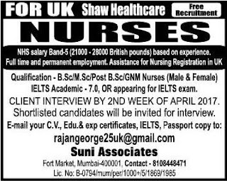 Nurses job vacancy in UK - Free Recruitment
