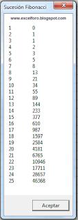 VBA: Números de Fibonacci en Excel