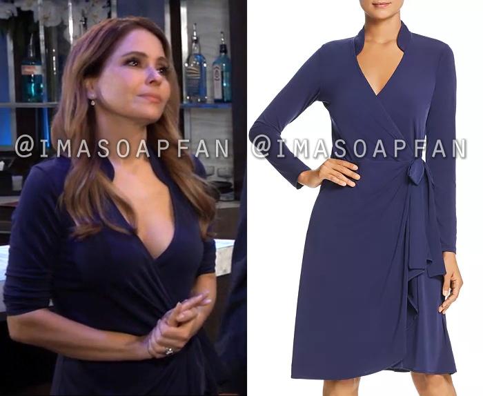 Olivia Quartermaine, Lisa LoCicero, Navy Blue Wrap Dress, General Hospital, GH