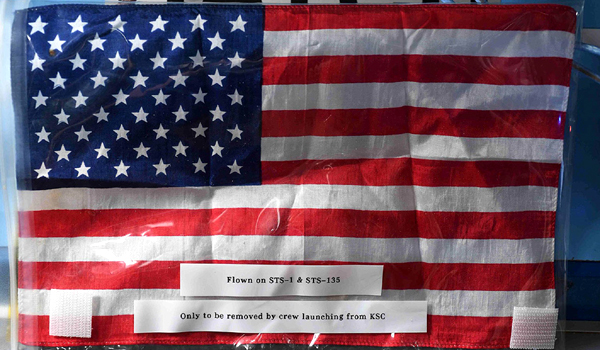 The American flag, which has been aboard the International Space Station since July of 2011, will be brought back to Earth at the end of the Demo-2 mission.