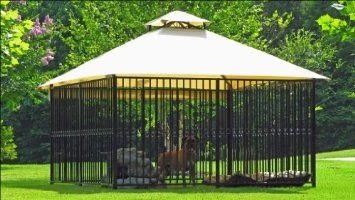 "Canine Castle: Luxury DOG KENNEL- Ornamental Dog House w/ Water-misting Canopy top --- ""Windsor"" Complete Set"