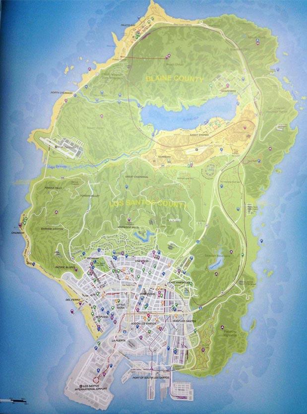Mapa de GTA V - imagem circulando na internet