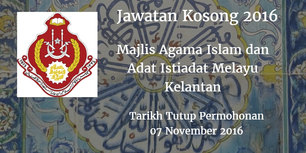Jawatan Kosong MAIK 07 November 2016