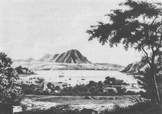 Teluk Bima dengan latar belakang pemandangan gunung Tambora di tahun 1821