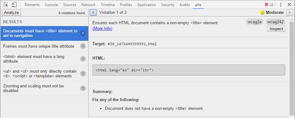 Resultados del análisis de accesibilidad de aXe Extension. Se describe detalladamente tras la imagen.