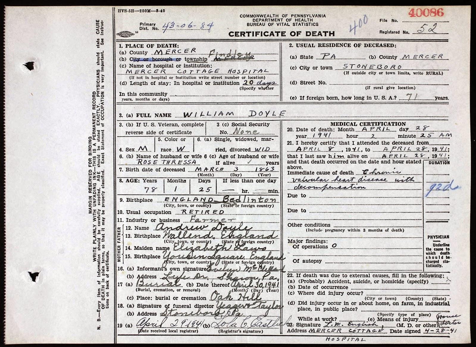 Pennsylvania bureau of vital statistics death certificates