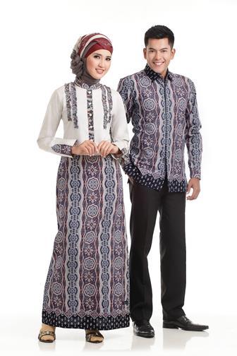 Gamis Batik Kombinasi Polos Modern