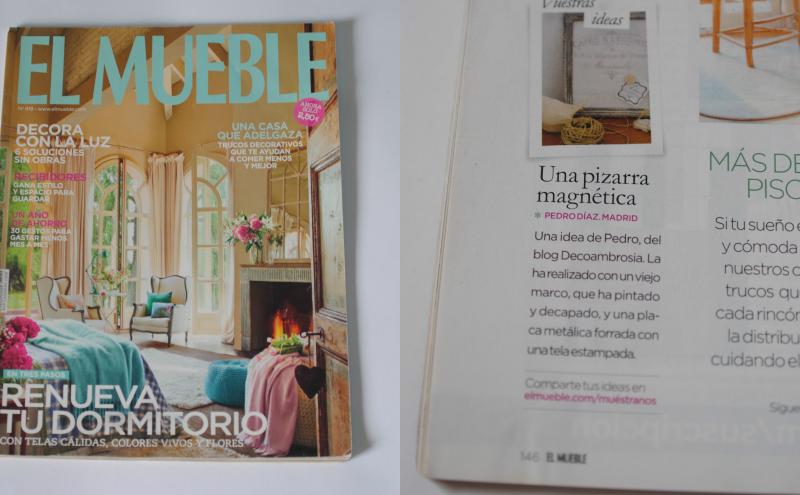 DIY pizarra magnetica en la revista EL MUEBLE