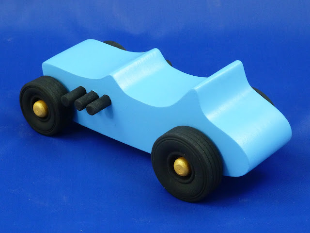 Left Rear - Wooden Toy Car - Hot Rod Freaky Ford - 27 T Bucket - MDF - Blue - Black - Gold