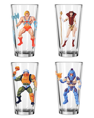 "He-Man and the Masters of the Universe ""Heroes"" Pint Glasses - He-Man, Teela, Man-At-Arms & Man-E-Faces"