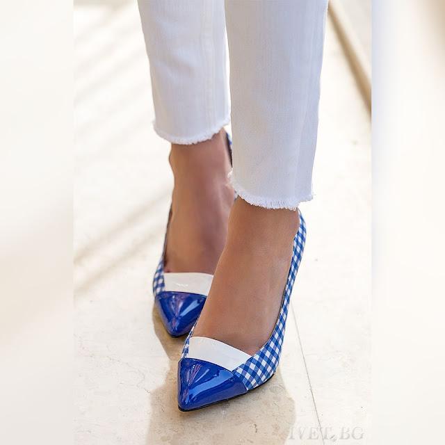 Γυναικεία άσπρα-μπλε παπόυτσια POLINA