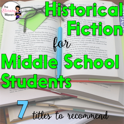Historical fiction is my favorite genre to read because I love history (maybe I should have been a social studies teacher). It's also a genre I love to recommend to students because they learn about an issue, event, or time period as they are reading. Here's 7 historical fiction titles, that I've recently read and would recommend to middle school students.