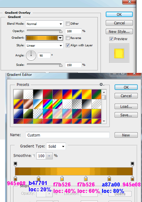 gradient-color-settings-for-gold-text-effect-in-photoshop