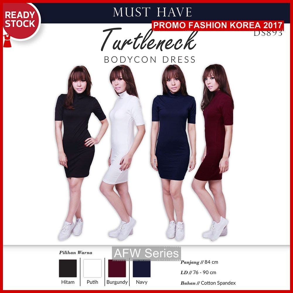 BAMFGW035 Turtleneck Dress Cotton Wanita PROMO