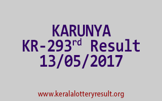 KARUNYA Lottery KR 293 Results 13-5-2017
