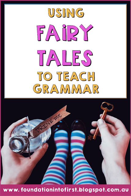 Using fairy tales to teach grammar concepts to early years students. Gingerbread Man, Red Riding Hood, Alice in Wonderland, Jack and the Beanstalk. Teacher ideas and hacks for teaching English language arts. #foundationintofirst #techteacherpto3 #grammar #ela