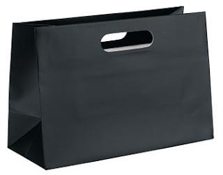 mat siyah el geçmeli kağıt poşet