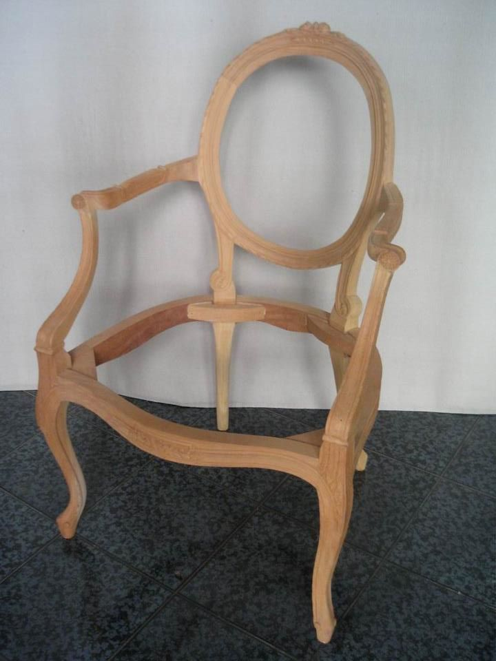 Unfinished Classic Furniture Verlinda Oval Arm Chair Mahogany Indonesia Reproduction