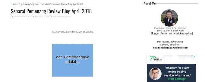 Rezeki Menang Blog Review Blog April 2018