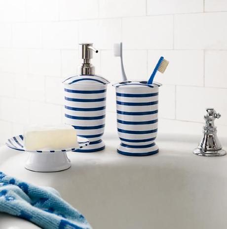 Nautical Bathroom Accessories in Blue and White - Coastal ...