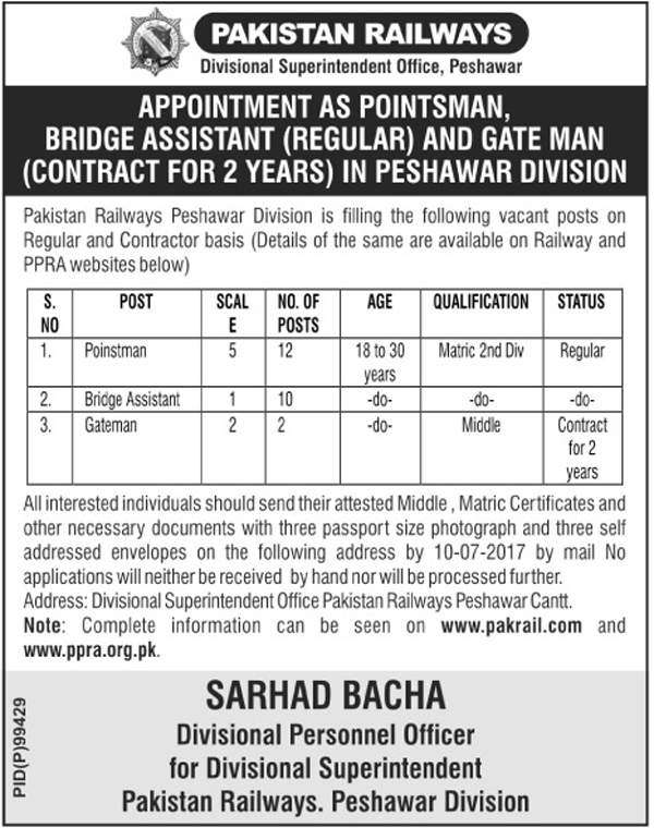 regular & contractor based jobs in pakistan railways divisional superintendent office peshawar 20 june 2017