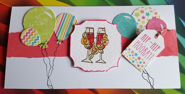 Hip, Hip Horray - Celebrate Happy New Year - DL balloons card - Day 366 of my 366 day challenge-