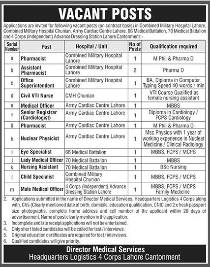 Combined Military Hospital CMH Jobs 2019 May - Jobs In My Pakistan